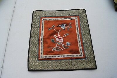 """Antique Silk Handmade Chinese Embroidery Panel Floral and Bird 12 12"""" x11"""""""