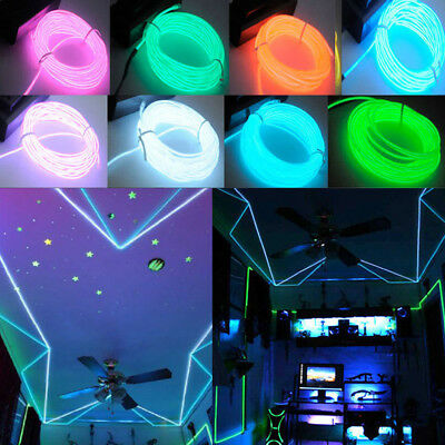 2M LED Color Flexible Neon Cold Light Strip Wire Glow Home Car Interior Lamps