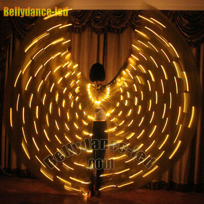 Rechargeable Gold 182 led isis wings glow dancer belly dance light up costumes