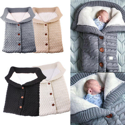 Newborn Baby Infant Winter Warm Knit Swaddle Wrap Swaddling Blanket Sleeping Bag