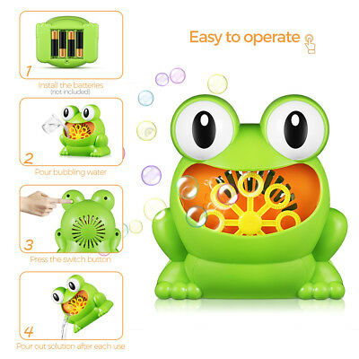Frog Shaped Battery Power Automatic Bubble Machine Maker for Kids Indoor Outdoor