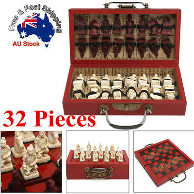 32PCS Chess Set Terra Cotta Traditional Chess Games Chinese Wood Leather  & Box