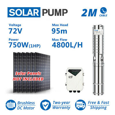"""WBS 3"""" DC Deep Well 1HP Solar Water Pump S/S Impeller Submersible w/ Controller"""