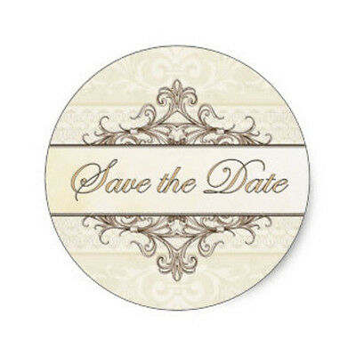 SET OF 6 X PERSONALISED 89 x120.7MM  CREAM SAVE THE DATE  WINE BOTTLE LABELS