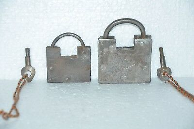 2 Pc Old Iron Square Shape Handcrafted Screw System Padlocks