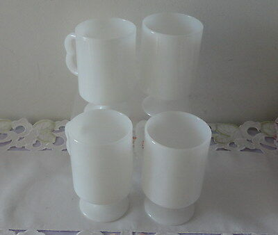 MUGS x 4 - Milk Glass - Irish Coffee - 1970's - Vintage - Excellent as NEW Cond
