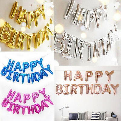 Letter Balloons Set Happy Birthday Banner Foil Balloon Kids Party Decor 2019
