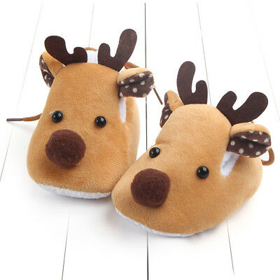 Newborn Infant Baby Boy Girl Christmas Crib Shoes Soft Sole warm walking shoes