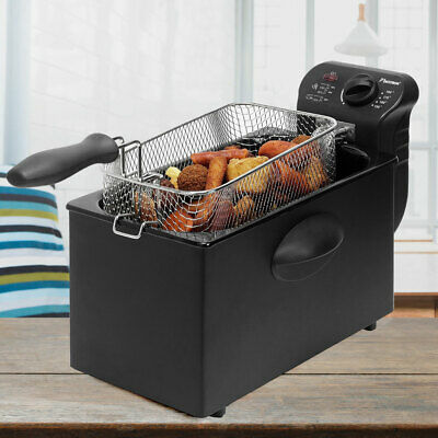 2000 watt fryer 3.5 liter container oil lid Cool Zone Coated black modern new