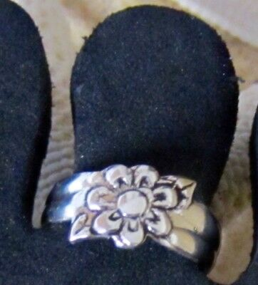 Sterling Silver 925 Lotus Flower Toe Ring Band Open Adjustable Beach