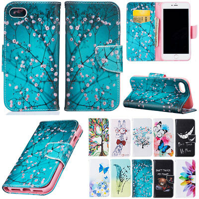 For Apple iPhone 5s SE 6 7 8 Plus Patterned Strap Flip Leather Wallet Stand Case