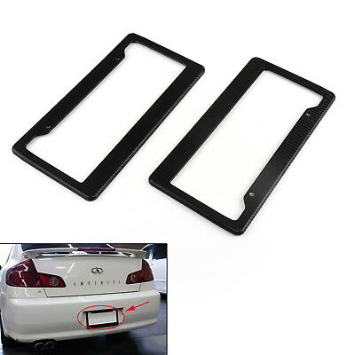 2PC Universal Black Carbon Fiber Printed Style Front/Rear License Plate Frame
