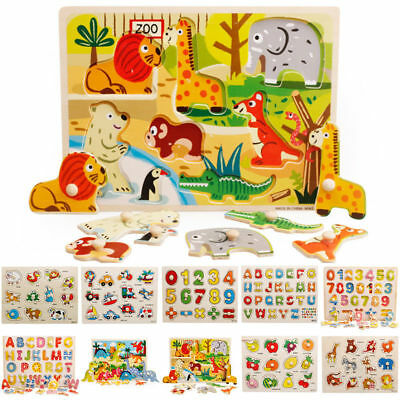 KIDS WOODEN PUZZLE JIGSAW Alphabet Animal Number EDUCATIONAL Pre-school Toys