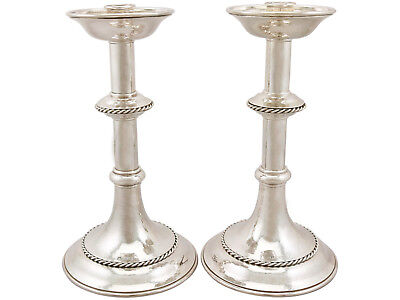 Vintage George VI Sterling Silver Alter Candlesticks - Arts and Crafts Style
