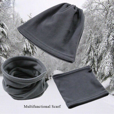 Trendy Winter Sport Thermal Fleece Scarf Snood Neck Warmer Face Mask Beanie Hat