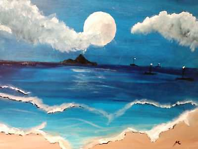 original hand painted on canvas acrylic 19 x 16 seascape painting