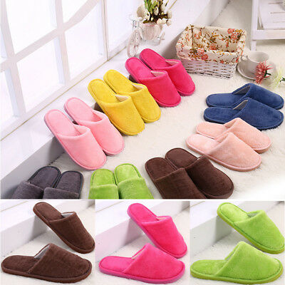 Women Men Indoor Slippers Winter Warm Plush Solid Home Slipper Shoes Fashion
