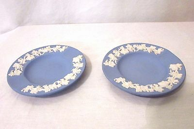 2 Wedgwood Ashtrays Jasperware Blue Grapevine Design