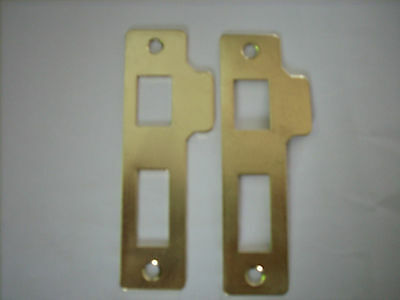 Steel Brass Coloured Reversible Mortice Double Strike Plates With Fixing Screws