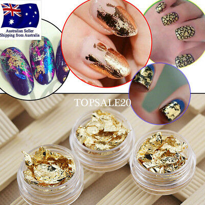 Gold & Silver Foil Flakes Leaf  Wrap Nail Art  Acrylic Gel Polish
