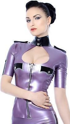 Westward Bound Military Vixen Latex Rubber Catsuit Pearl Sheen Silver with Yellow Trim.