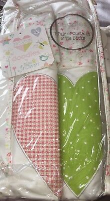 Floral Love Heart Babies R Us Curtains With Tie Backs White,Brand New Packed