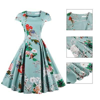 New Women Vintage 50s 60s Retro Floral Printed Pinup Party Swing Dress Plus Size