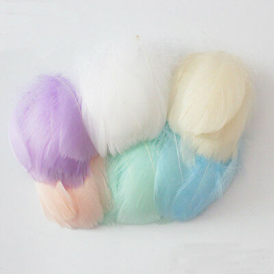 100 Pcs / Lot Natural 4-8 Cm Goose Feather Mix Dyed Diy Carnival Wedding Party