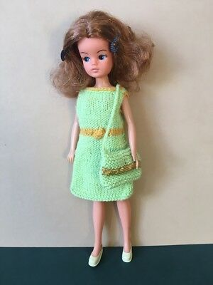 Pale green wool knit dress and bag set fit Sindy Barbie doll clothes SHIMMYSHIM