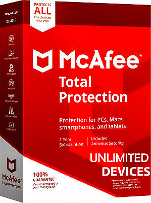 McAfee Total Protection 2018 2019 - Unlimited Devices, 1 Year - Global Key