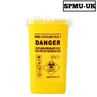 Sharps Box Container - Medical Needles syringe Biohazard 1 Litre Tattoo Disposal