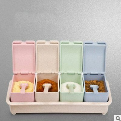 Seasoning Rack Spice Pots Wheat Straw Seasoning Box Storage Condiment Jars N1