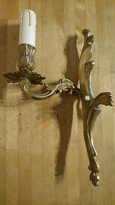 A Vintage Brass / Gold Guilt French Rococo Style Single Candle Sconce Wall Light