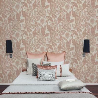 Alexis Rose Gold Floral Wallpaper Luxury Textured Vinyl by Crown M1380