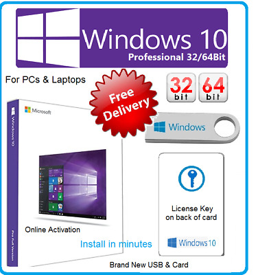 Microsoft Windows 10 Professional 32/64Bit Pro 1 PC License Key Card & USB