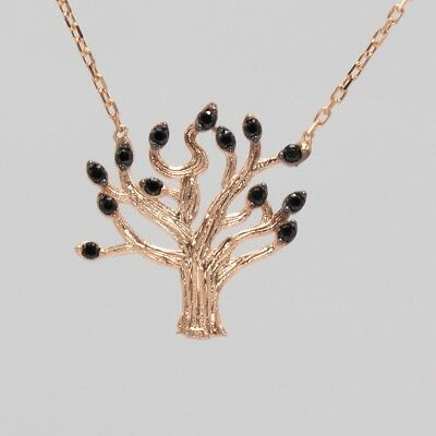 Handcrafted Tree of Life Pendant Necklace Sterling Silver with Rose Gold Plating