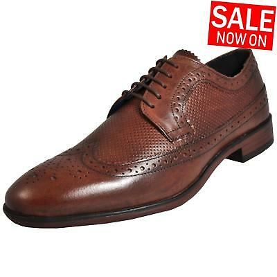 Red Tape Leather Nappa Vintage Brogue Mens Formal Dress Wedding Shoes Brown