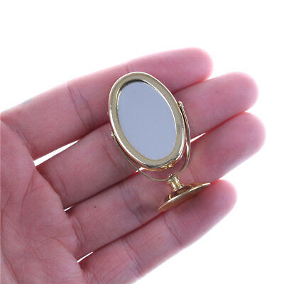 Miniature Oval Swing Dressing Mirror in Brass Stand Dolls House Accessories ZN