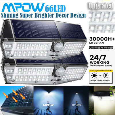 Mpow Upgrated 66LED Solar Lights PIR Motion Sensor Wall Garden Yard Lamp Outdoor