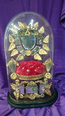 XXL Antique French Glass Dome Clock Taxidermy Shop removeable internal cushion