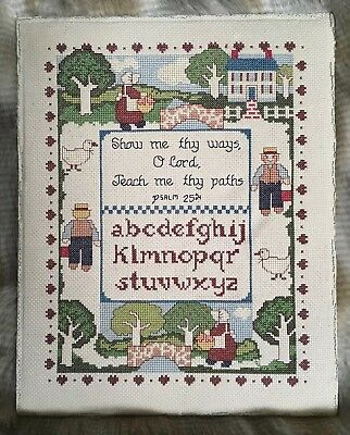Completed Country Cross Stitch Sampler Psalm 25:4 Alphabet Amish Farm Decor