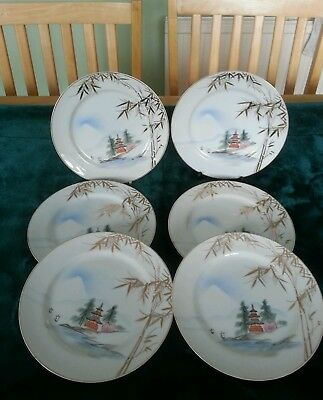 Japanese Hand Painted Plates Set of 6 Gilt edged and Gilt Bamboo