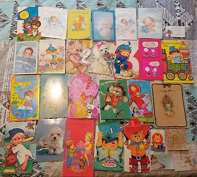 Lot of Vintage Used Birthday Baby Cards 1970s boy toddler childs animals rare