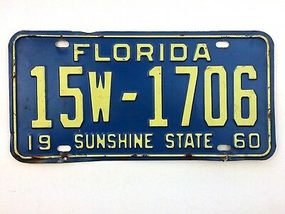 Florida 1960 Old License Plate Garage Classic Car Man Cave Southern Tag Vtg