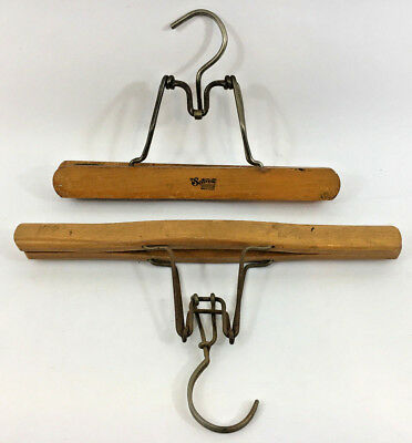 2 x VINTAGE WOODEN COAT HANGERS SETWELL AND ANOTHER