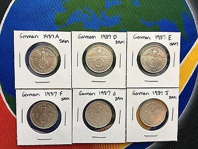 1937 Complete Set 2 Mark WW2 SILVER German Third Reich Swastika Coins
