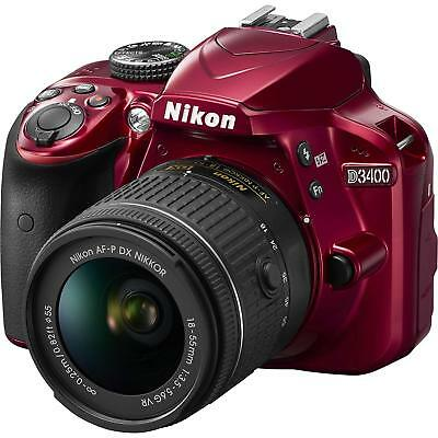 Nikon D3400 DSLR Camera with AF-P DX NIKKOR 18-55mm f/3.5-5.6G VR Lens - Red