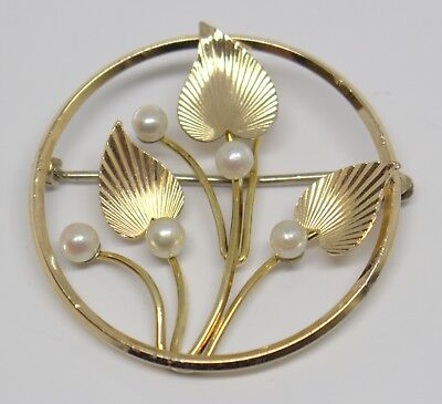 Antique 10K Yellow Gold Circular Brooch/pin With Leaves & Pearls #96961-14