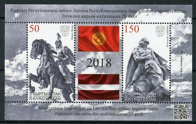 Kyrgyzstan 2018 MNH Diplomatic Relations JIS Latvia 2v M/S Flags Statues Stamps