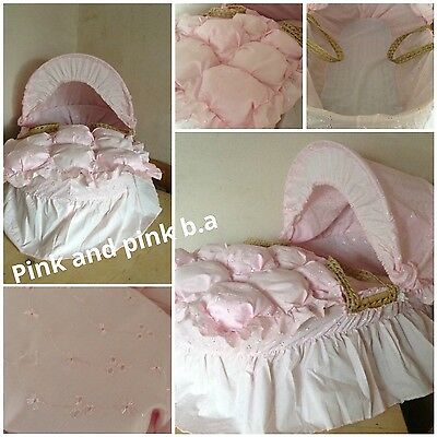 moses basket dressing covers bedding set pink bubble design (not basket)